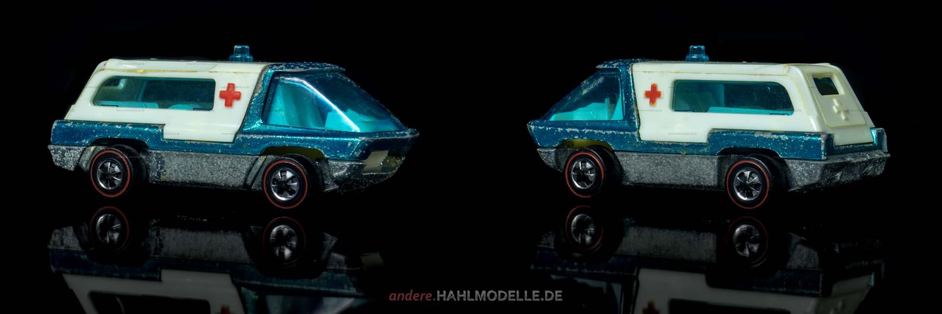 """Ambulance"" | Krankenwagen | Mattel Inc. Hong Kong | Hot Wheels | The Heavyweights | 1:64 | www.andere.hahlmodelle.de"