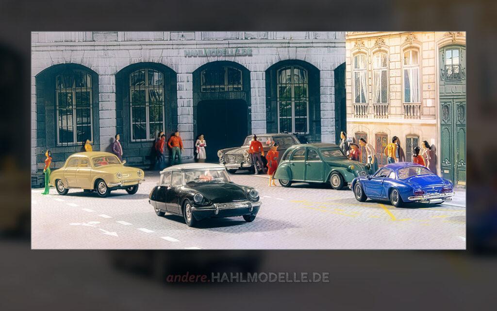 Renault Dauphine, Citroën DS 19, Peugeot 404, Citroën 2 CV und Renault Alpine A 110