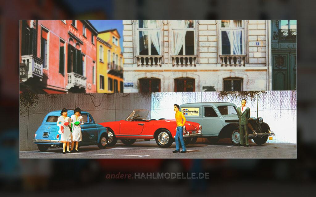 Fiat Nuova 500, Alfa Romeo Giulietta (750/101) Spider und Fiat 1100 Furgone