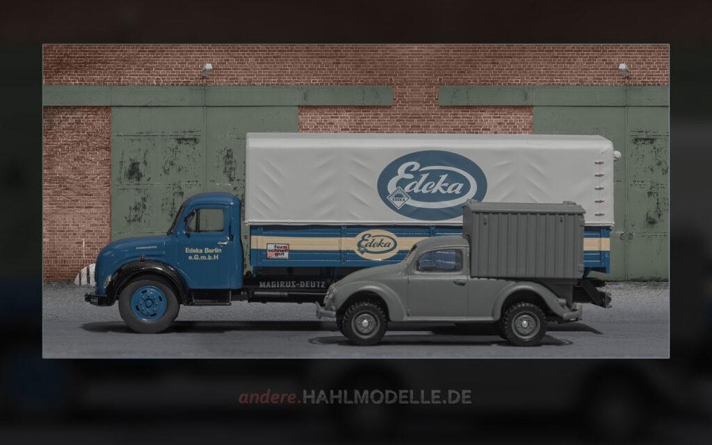 Magirus Merkur 120 L und Volkswagen Käfer Kastenwagen