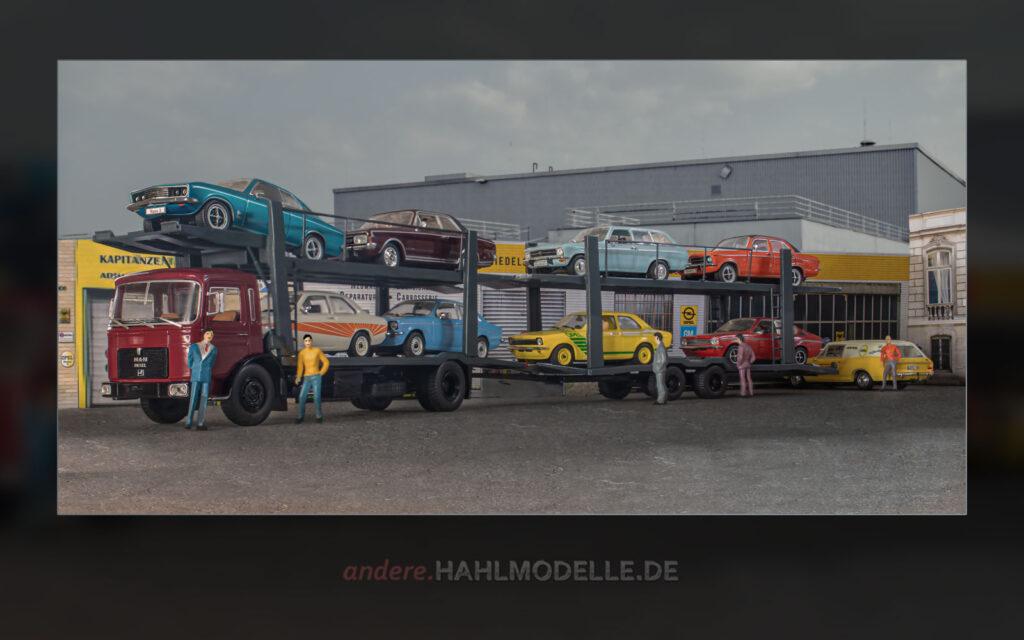 MAN F7 Autotransporter beladen mit diversen Opel Kadett C, Opel Ascona A Voyage, Opel Manta A, Opel Commodore A sowie Opel Rekord C Schnell-Lieferwagen