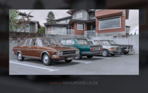 Audi 100 (C1), BMW 2500 (E3), Mercedes-Benz 450 SEL 6.9 (V 116) und Opel Diplomat B, Limousine, Langversion (Vogt)