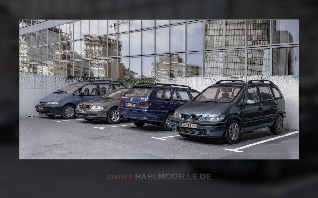 Ford Galaxy (Galaxy '95), Audi A4 Avant (B5, Peugeot 406 Break und Opel Zafira A