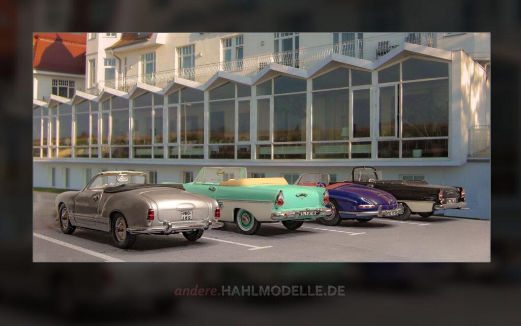 Volkswagen Karmann Ghia 1200 (Typ 14), Ford Taunus 17M (P2), Mercedes-Benz 300 SL (W 198 II) und Opel Olympia Rekord P1