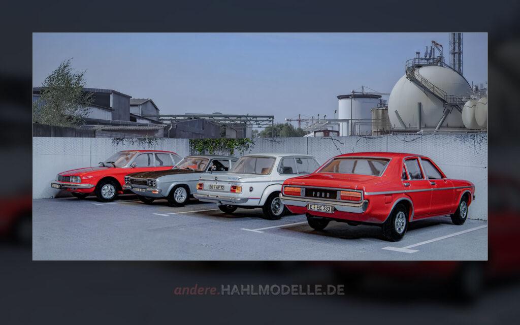 NSU Ro 80, Ford Capri RS 2600 (Capri '69), BMW 2002 turbo (E20) und Ford Granada Mk. I
