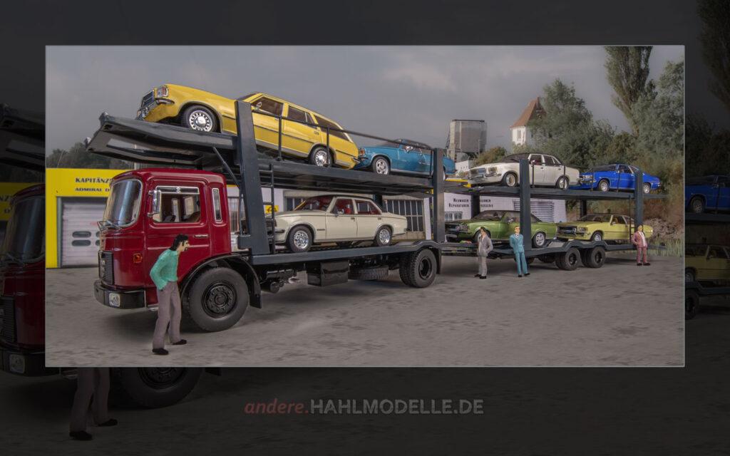 MAN F7 Autotransporter mit Opel Rekord D und Opel Commodore B