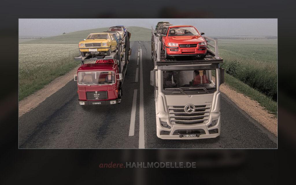 MAN F7 Autotransporter mit Opel Rekord D und Opel Commodore B und Mercedes-Benz Actros Autotransporter mit Opel Omega B