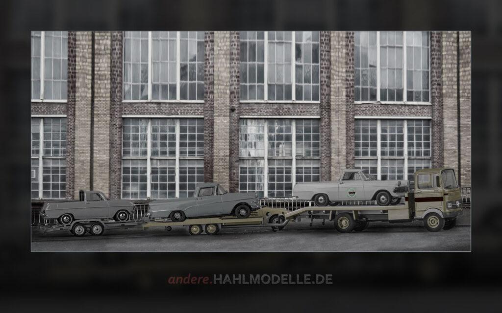 Mercedes-Benz LP 608, Opel Kadett A PickUp, Opel Olympia P1 PickUp und Opel Rekord P2 PickUp