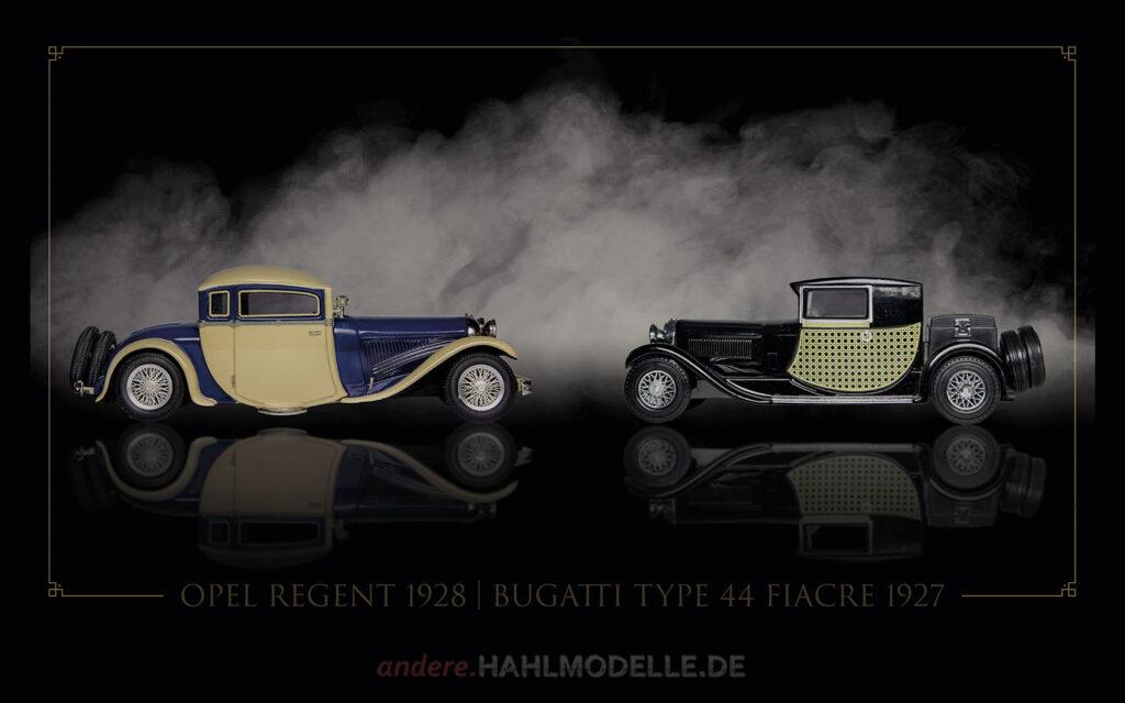 hahlmodelle.de | Automobildesign 1920-1929: Opel Regent, Coupé (Karosserie Kruck) und Bugatti Type 44 Fiacre, Coupé (Gangloff)