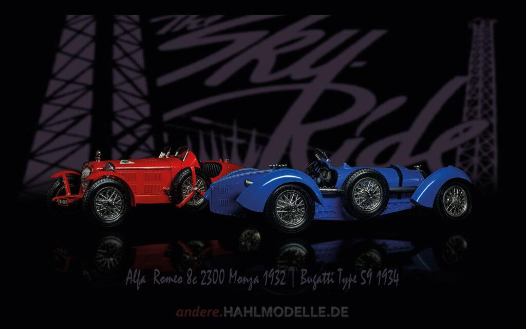 hahlmodelle.de | Automobildesign 1930-1939: Alfa Romeo 8C 2300 Monza, Roadster und Bugatti Type 59, Roadster